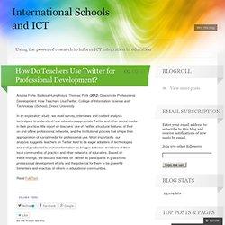 How Do Teachers Use Twitter for Professional Development?