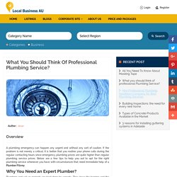 What you should think of professional Plumbing Service? - LocalBuisness AU