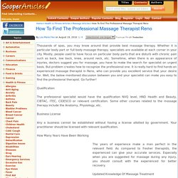 How To Find The Professional Massage Therapist Reno