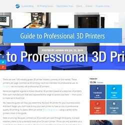 Guide to Professional 3D Printers - Sculpteo Blog