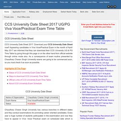 CCS University Date Sheet 2017 UG/PG ODD Semester & Professional Courses