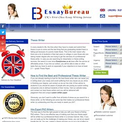 Custom Thesis Proposal Writing Service