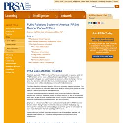 Public Relations Society of America (PRSA) Member Code of Ethics