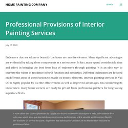 Professional Provisions of Interior Painting Services