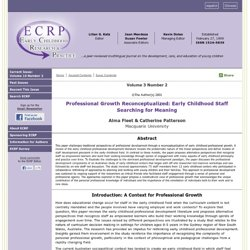 Vol 3 No 2. Professional Growth Reconceptualized: Early Childhood Staff Searching for Meaning