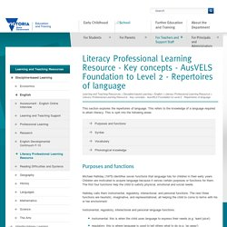 Literacy Professional Learning Resource - Key concepts - AusVELS Foundation to Level 2 - Repertoires of language