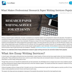 What Makes Professional Research Paper Writing Services Popular?