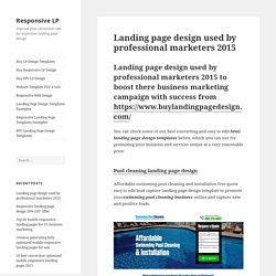 Landing page design used by professional marketers 2015