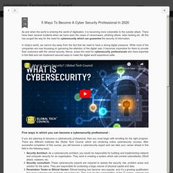 5 Ways To Become A Cyber Security Professional In 2020
