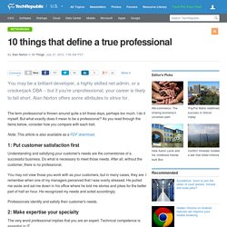 10 things that define a true professional