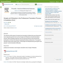Google and Wikipedia in the Professional Translation Process: A Qualitative Work