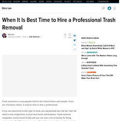When It Is Best Time to Hire a Professional Trash Removal