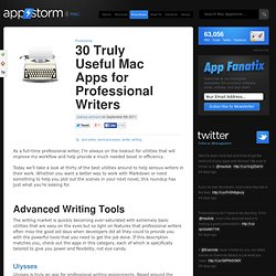 30 Truly Useful Mac Apps for Professional Writers