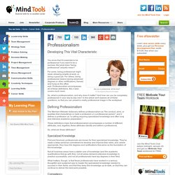 Professionalism - Career Development from MindTools