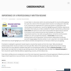 Importance of a Professionally Written Resume – careershineplus