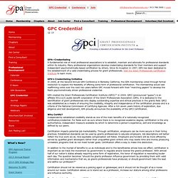 Grant Professionals Association - GPC Credential