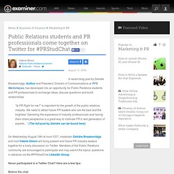 Public Relations students and PR professionals come together on Twitter for #PRStudChat