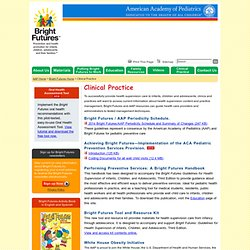 Bright Futures: Health Care Professionals Tools and Resources