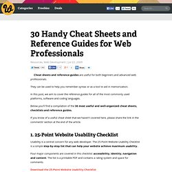 30 Handy Cheat Sheets and Reference Guides for Web Professionals