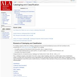Cataloging and Classification - Professionaltips