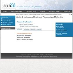 Master 2 professionel Ingénierie Pédagogique Multimédia