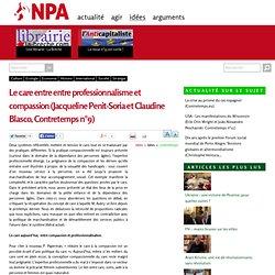 Le care entre entre professionnalisme et compassion (Jacqueline Penit-Soria et Claudine Blasco, Contretemps n°9)