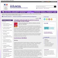 Université d'automne : « Analyse de pratiques et professionnalité des enseignants » - L'identité professionnelle du point de vue de la psychologie sociale clinique