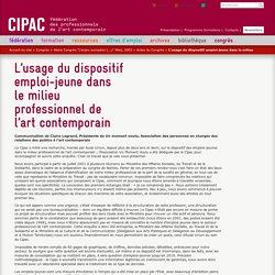 L'usage du dispositif emploi-jeune dans le milieu professionnel de l'art contemporain - CIPAC