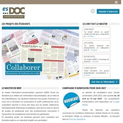 Master professionnel Documentation Bibliothèques Veille - esDOC