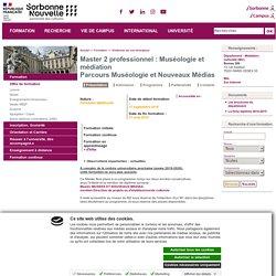 Master 2 professionnel : Muséologie et médiation/parcours muséologie et nouveaux médias