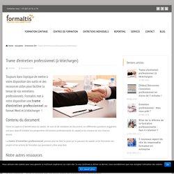 Trame d'entretien professionnel (à télécharger) - Formaltis
