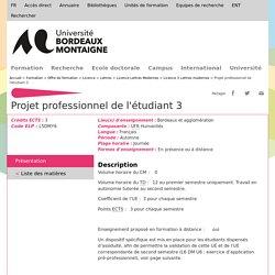 Projet professionnel de l'étudiant 3