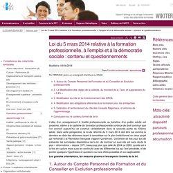 Loi du 5 mars 2014 relative à la formation professionnelle, à l'emploi et à la démocratie sociale : contenu et questionnements. Jean-Luc Ferrand. Wikiterritorial. In : CNFPT, 2016.