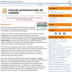 Journée professionnelle de l'APDEN - Doc'Poitiers - Le site des professeurs documentalistes