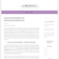 L'identité professionnelle des professeurs documentalistes – — Le mec du C.D.I —