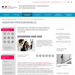 Publication des résultats de la 4e enquête sur l'insertion professionnelle des diplômés de l'université
