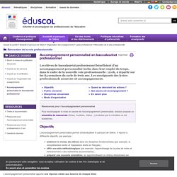Rénovation de la voie professionnelle - Accompagnement personnalisé en baccalauréat professionnel