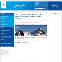 Licence professionnelle AGO des APS mention Activités de Pleine Nature et Tourisme - Faculté des sciences du sport