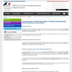Le contrat pour la mixité des emplois et l'égalité professionnelle entre les femmes et les hommes / Actualités / Égalité femmes-hommes / L'action de l'État