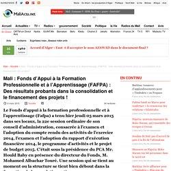 Fonds d'Appui à la Formation Professionnelle et à l'Apprentissage (FAFPA) : Des résultats probants dans la consolidation et le financement des projets !