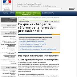 Ce que va changer la réforme de la formation professionnelle - Formation professionnelle/Apprentissage