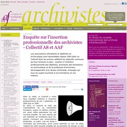 Enquête sur l'insertion professionnelle des archivistes - Collectif A8 et AAF
