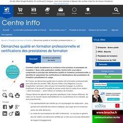 Démarches qualité en formation professionnelle et certifications des (...)