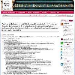 Projet de loi de finances pour 2010 : Les conditions générales d