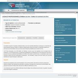 LICENCE PROFESSIONNELLE Métiers du livre : Edition et commerce du livre - Charte Paris5
