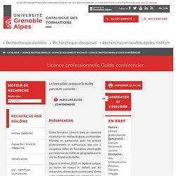 Licence professionnelle Guide conférencier - Catalogue des formations