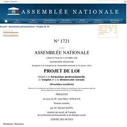 N°1721 - Projet de loi relatif à la formation professionnelle, à l'emploi et à la démocratie sociale