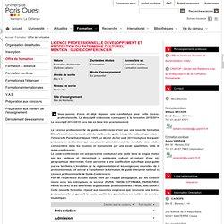 Licence Professionnelle Développement et protection du patrimoine culturel<br>Mention : Guide-conférencier