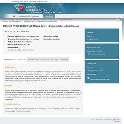 LICENCE PROFESSIONNELLE Métiers du livre : Documentation et bibliothèques - Charte Paris5