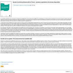 Suicide et activité professionnelle en France : premières exploitations de données disponibles